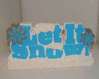 Hand Painted Plaster Let it Snow Tabletop Decoration with Sparkling Textured Snow