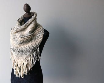 Knitted Knit Triangle Scarf, Bandanna Scarf with Fringe. Handmade in Clair de Lune, Chunky Wool Yarn
