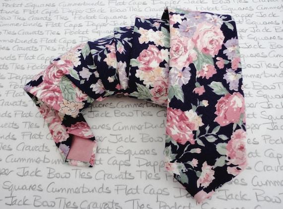 Floral tie, ties for men, pink roses on a navy background cotton tie, slim tie, wedding ties