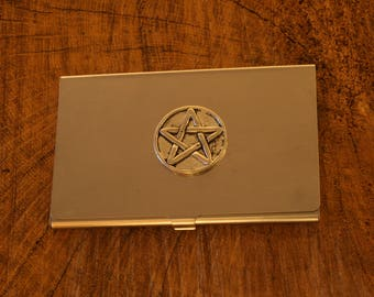 Five Pointed Star Business Credit Card Holder Masonic Gift FREE ENGRAVING