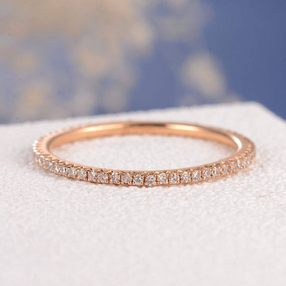 Stacking Ring Rose Gold Wedding Band Women Diamond Thin Eternity Simple Micro Pave Dainty Minimalist Jewelry Matching Bridal