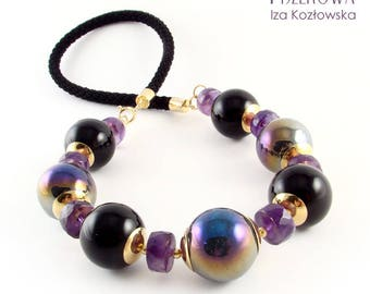 Onyst - necklace with amethyst, onyx and ceramic