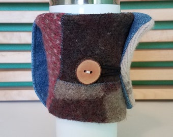 Wool Coffee Cardigan with Denim Handle - Tea Cozy - Coffee Sleeve - Eco-Friendly - Reusable - Calico - Brown/Cream/Coral/Rust