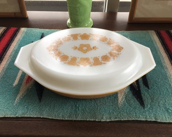 Pyrex butterfly gold divided dish