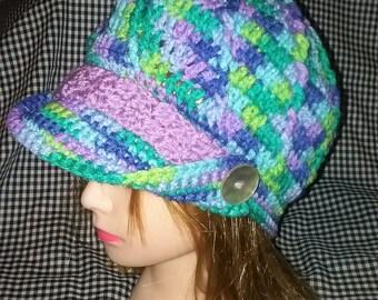 Hand Crochet Newsboy Hat - Cap