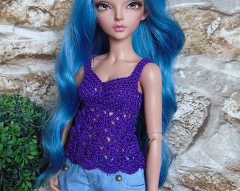Purple Cami Crochet Top Only for Minifee Slim Msd BJD Doll Mnf