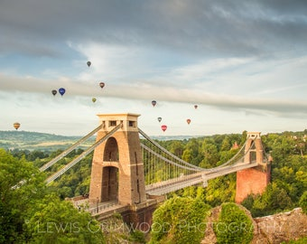 Hot air balloons over Clifton Suspension Bridge, Bristol print, photographic print, home wall print, landscape photo print