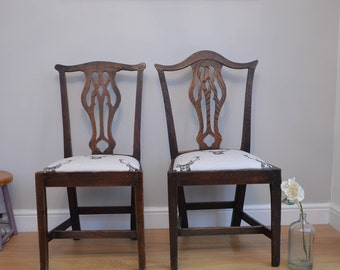 Beautiful Pair of Edwardian chairs/ Fireside chairs with Stag fabric