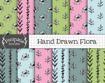 Hand Drawn Digital Paper, Floral Digital Paper, Commercial Use, Flowers and Leaves Background, Digital Scrapbooking Paper