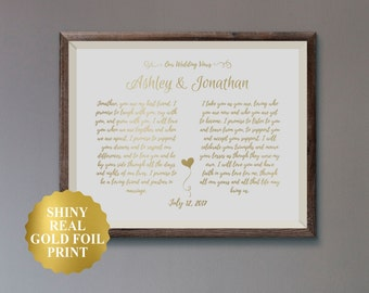 Wedding Vows Caligraphy / Wedding Vows Art / Wedding Vow Frame Not Included / Wedding Vows Sign / Wedding Vow Keepsake / Anniversary Gift