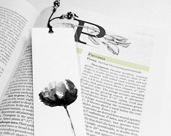 Black And White Peony Bookmark, Watercolor Bookmark Peony Print, Watercolor Flower Black And White Bookmark, Romantic Peony Flower Bookmark
