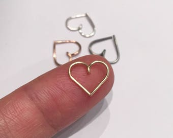 Heart Cartilage Earring, Heart Piercing, Heart Earrings, Heart