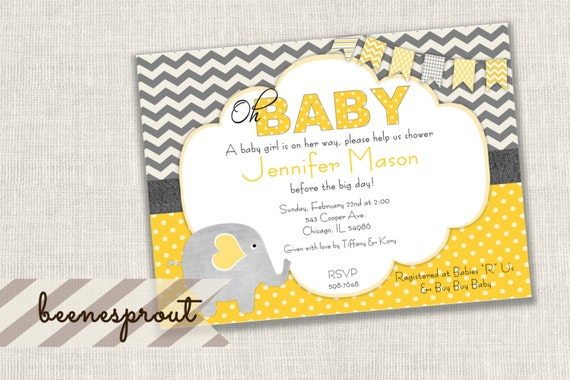 Yellow and gray elephant baby shower invitation filmwisefo