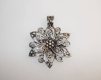 Silver Flower pendant 6 petals, 65 mm, floral decoration. (4952031)