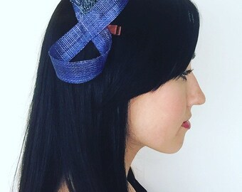 Royal Blue fascinator with matching spray of blue beads