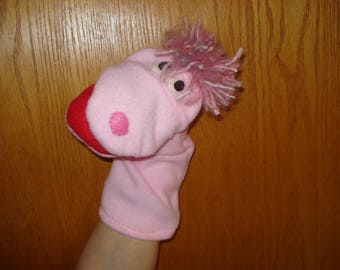 Pink fleece fabric hand puppet moveable mouth