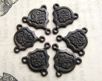 Tiny 13mm rosary link, black antiqued brass (6 triple connectors) dark aged patina necklace link, small reducer