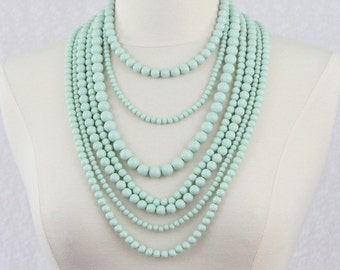 Mint Multi Strand Statement Necklace Multi Layered Beads Long Statement Necklace Seven Strand Beads Necklace
