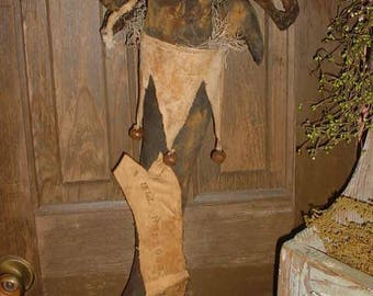 PATTERN Masquerade Halloween STOCKING w/ Mask Cat Crow Witch Hat