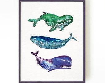 Whale Print Nautical Print, Whale Art Nautical Art, Nautical Decor Whale Watercolor, Nautical Bathroom Wall Art, Nautical Nursery Wall Art