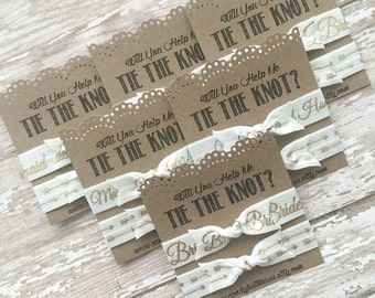 Will You Help Me Tie The Knot, Be My Bridesmaid, Hair Ties Favor, Bridesmaid Hair Ties, Bridal Party Gift, Bridesmaid Favor, Bridesmaid Gift