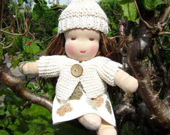 Organic natural doll, girl Waldorf doll, all natural, gift for toddler, earth tones, neutral, 12 inch, soft, green, brown eyed,