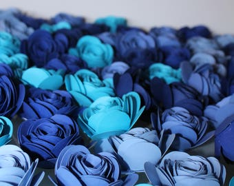 Loose Flowers, Loose Rolled Flower, Wedding Table Decor, Blue Flowers, Paper Roses, Rolled Flowers, Flowers for Decorating, Table Decor