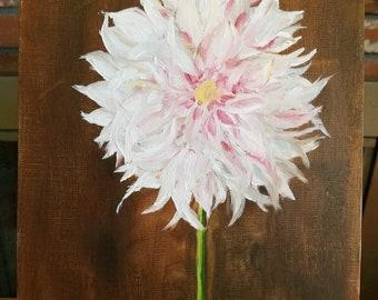 8 x 10 Pink Dahlia oil paint on canvas, pink flower, chrysanthemum, Dahlia, still life, white flower