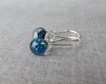 Cyan Sparkle Drop Earrings Silver, Blue Earrings, Small Wire Earrings Blue Glass, Sterling Silver Earrings, Lampwork Glass Drop Earrings