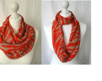 Red and taupe animal print infinity scarf, Circle scarf, Animal print scarf, Print scarf, Scarf for her, Fashion scarf,