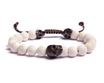 Men's skull bracelet - Riverstone beads - antiqued brass skulls - sliding knot closure - Men's Jewelry - Men's Bracelets - Beaded Bracelet