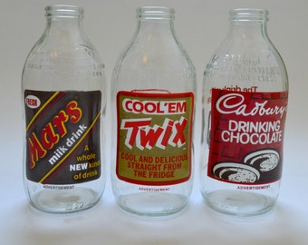 Set of 3 Vintage 1980's Milk Bottles Advertising Twix, Mars and Cadbury's Chocolate