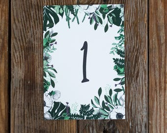 As featured on Rock my Wedding | Olive Branch | Botanical Floral Table Numbers Pack of 10 | 1 - 10