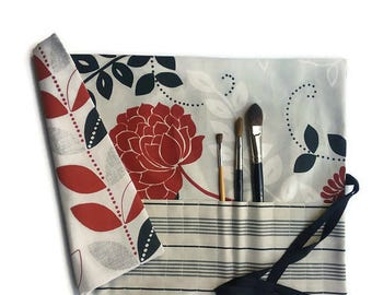Brush Roll Red And Black Floral Artist Brush Roll