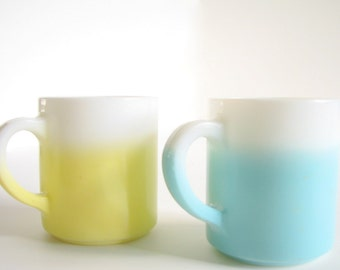 Vintage Hazel Atlas Yellow Ombre and Aqua Ombre Stacking Mugs, Set of 2
