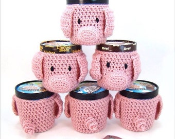 Crochet Pig pattern - Ice Cream Cozy Crochet Pattern - Crochet Pig and Piglet