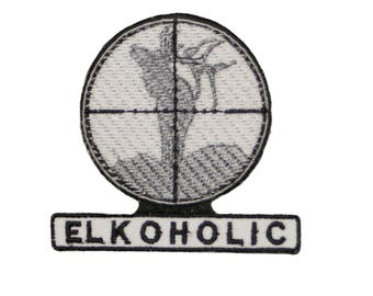 ELKOHOLIC Elk Hunter Cross hair Scope Embroidered Iron/sew on Patch/Applique 3""