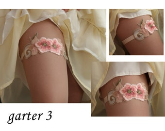Bridal Garter,embroidered garter--size M/L