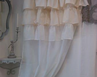 Cream linen voile curtain shabby ruffles, ruffle