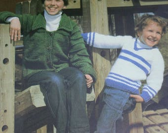 Sweater Knitting Patterns Cardigan Children Bouquet 415 Sizes 22 - 30 Inches 56 - 76 cm Bulky Weight Yarn Boy Girl Paper Original NOT a PDF