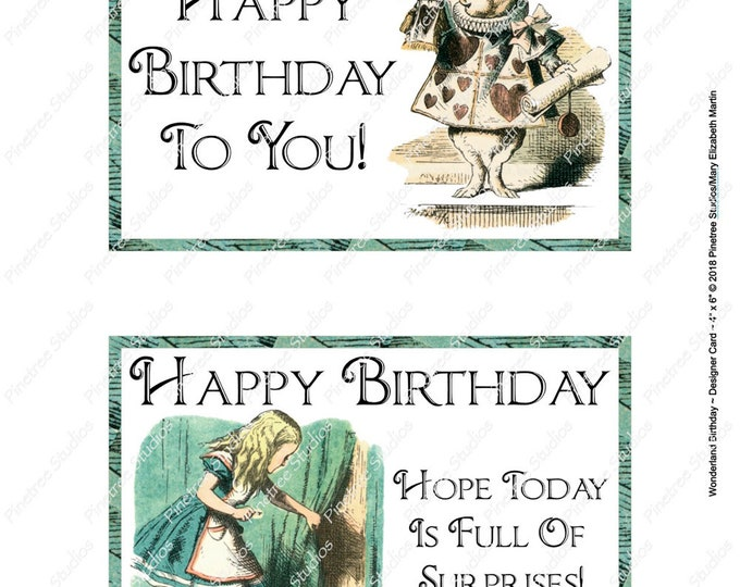 "Wonderland Birthday Postcards (4"" x 6"" Landscape/Portrait) Digital Download ~ Printable / Journal Label / Card / E-Card / Ephemera"