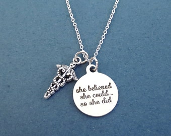 Caduceus, She believed, she could... so she did, Silver, Birthday, Best friends, Sister, Gift, Jewelry