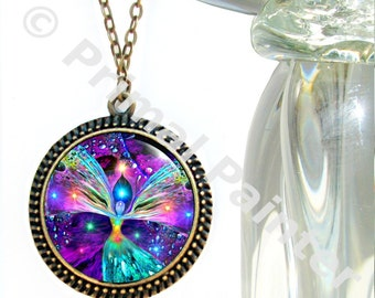 """Rainbow Chakra Necklace, Angel Pendant, Reiki Jewelry """"Bubbles of Clearing"""""""