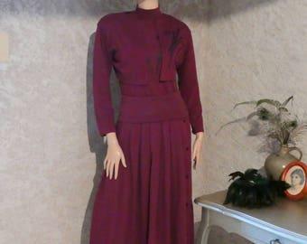 Set skirt-sweater bolero rolled cotton - vintage set - year 1980