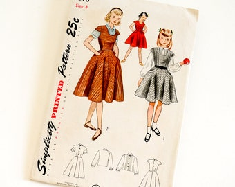 """HTF Vintage 1950s Girls Size 8 Jumper and Blouse Simplicity 3378 Sewing Pattern Complete, b26 w23"""""""