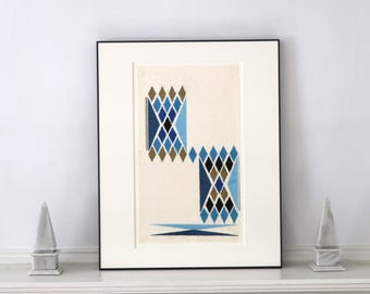 Rare Mid Century Fabric Sample 1960s 16 x 20 Inch Frame