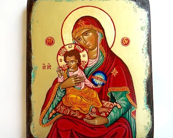 Orthodox Icon Madonna with Christ, handpainted icon of Virgin Mary and Baby Jesus 7 by 8 inches - MADE TO ORDER