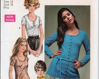 """Back Zipper Top Scoop Neckline 1970s Blouse Pattern SIMPLICITY 8697 bust 34"""" Retro Blouse Pattern Retro Tops Belted Top 1970s Tops Knit Tops"""