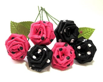 Polka Dot Pink and Black Rose Bouquet