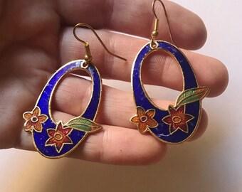 Vintage Cloisonne Blossom Dangle Earrings